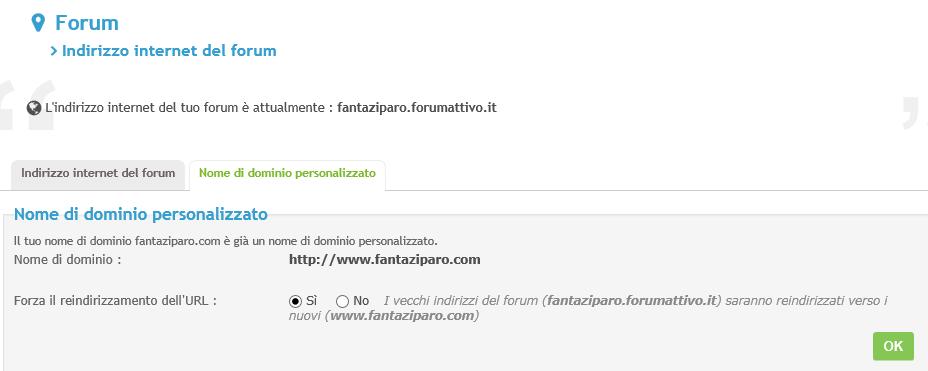 Nome dominio pannello amministrazione Fantac10