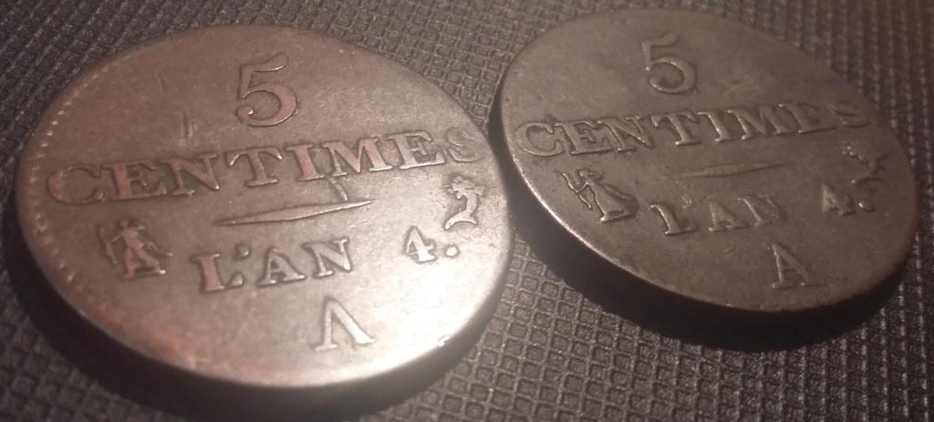 5 Centimes An 4 A Petit module Variété V inversé ! Répertorié ?? 20200410