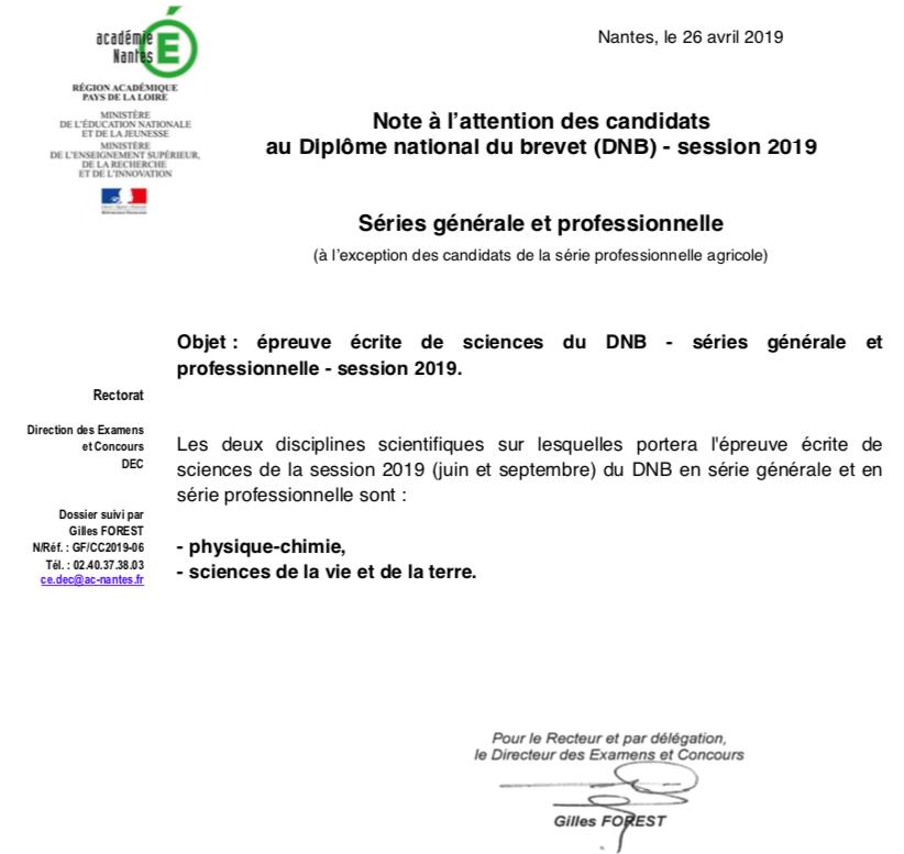 DNB sciences métropole 2019 : couplage SVT Physique Captur19
