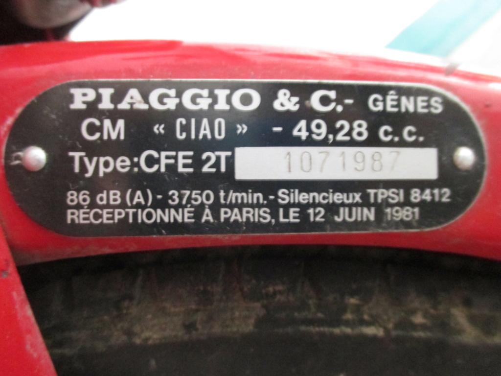Identification Piaggio Ciao  Plaque10