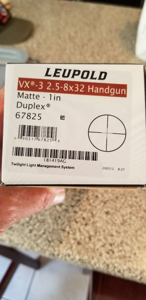 Leupold VX-3 2.5x 8x32 pistol scope--2 weeks old. 20200812
