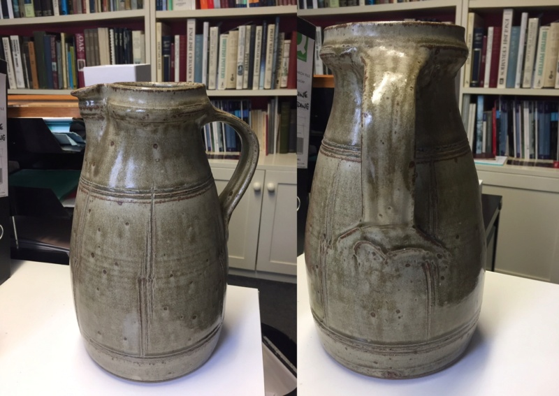 Ash glaze stoneware jug, mystery BS mark Image10
