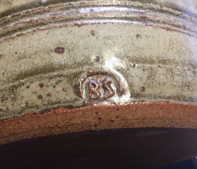 Ash glaze stoneware jug, mystery BS mark Img_0213