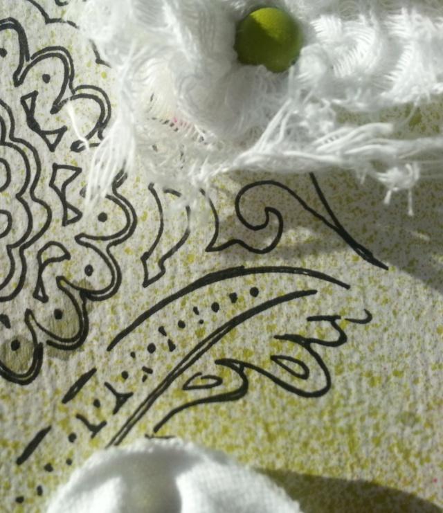 Sprays Studio Calico Jardin, Jolie Rose et Argile + stencil Object12