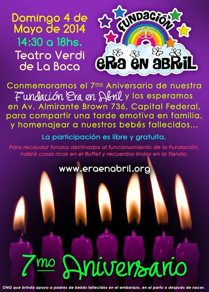 """4/5/14-Te invitamos al 7mo ANIVERSARIO DE LA FUNDACIÓN """"ERA EN ABRIL"""" (en BUENOS AIRES) 10178114"""