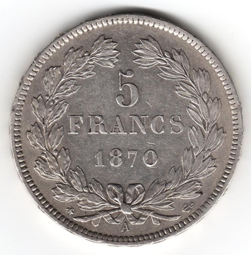 5 Francs. Francia. 1870. París 1050_210