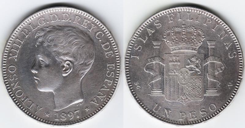 1 Peso. Alfonso XIII, Islas Filipinas. 1897. Madrid Img90610
