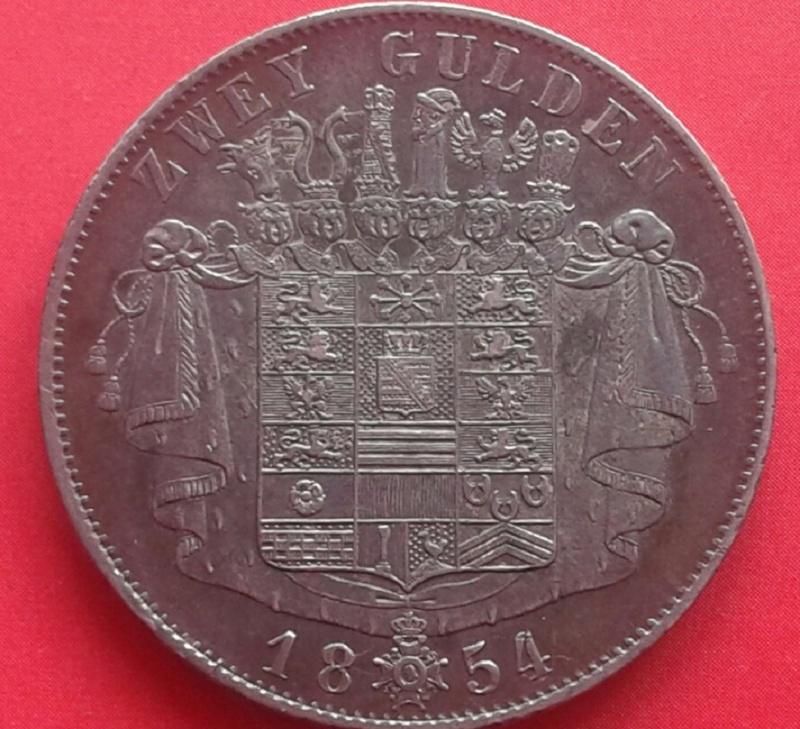 2 Gulden 1854 Ducado de Sajonia Meiningen este escudo está dedicado a Lanzarote X4v810