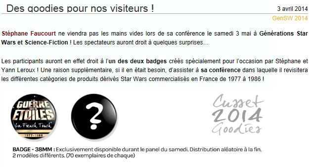 Générations Star Wars & SF - Cusset (03) 03-04 Mai 2014  - Page 4 Badge10