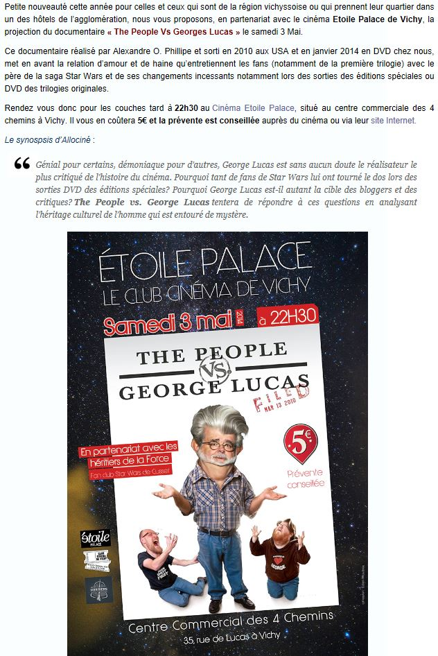 Générations Star Wars & SF - Cusset (03) 03-04 Mai 2014  - Page 4 Lucasv10