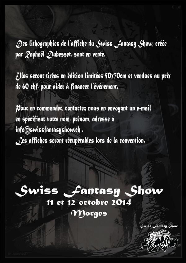 Swiss Fantasy Show 2 - 11 & 12 Octobre 2014 - Morges (CH) Sfs_2_11