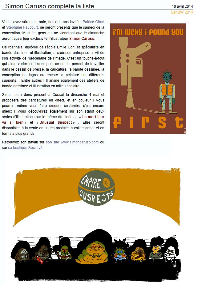 Générations Star Wars & SF - Cusset (03) 03-04 Mai 2014  - Page 4 Simon10