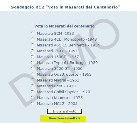 "Sondaggio RC2 ""Vota la Maserati del Centenario"" Cattur24"