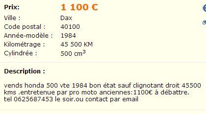 VT500e à vendre dans les Landes ... Lbb210