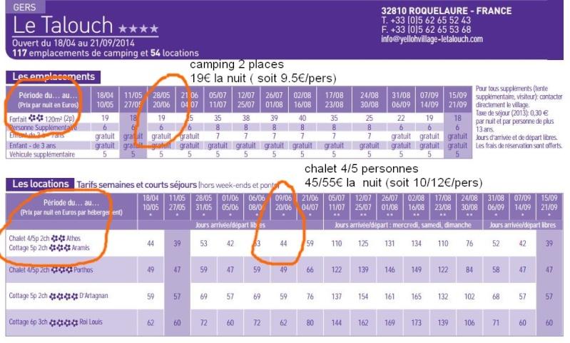 """inscriptions définitives (limite 5 avril ), détails,tarifs   période 15 juin rencontre V2 """"gers"""" Tarita10"""