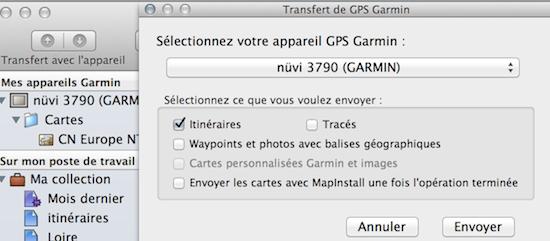 Enregistrer un itinéraire de BaseCamp sur PC Captur30