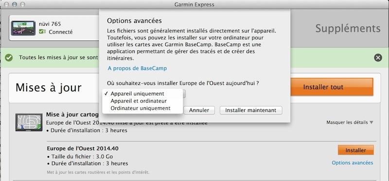 Navigator V, Garmin express et OS X Captur44