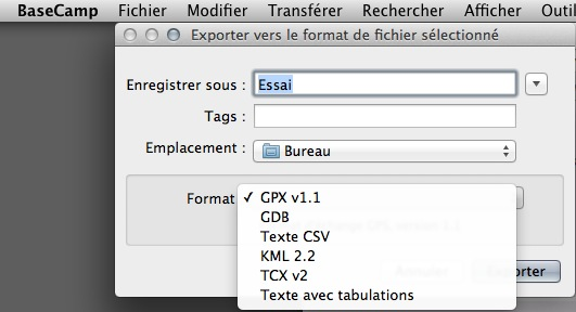 Où se trouve les fichiers GPX modifiés avec Base Camp Captur88