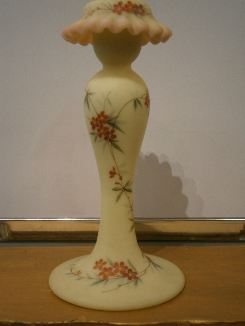 WEBB & SONS QUEENS BURMESE GLASS CANDLE STICK 5711