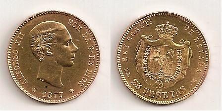 25 pesetas oro de Alfonso XIII (Madrid, 1877)  Moneda12