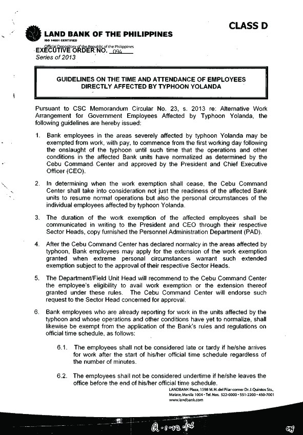 GUIDELINES ON THE TIME AND ATTENDANCE OF EMPLOYEES AFFECTED BY YOLANDA Attend10