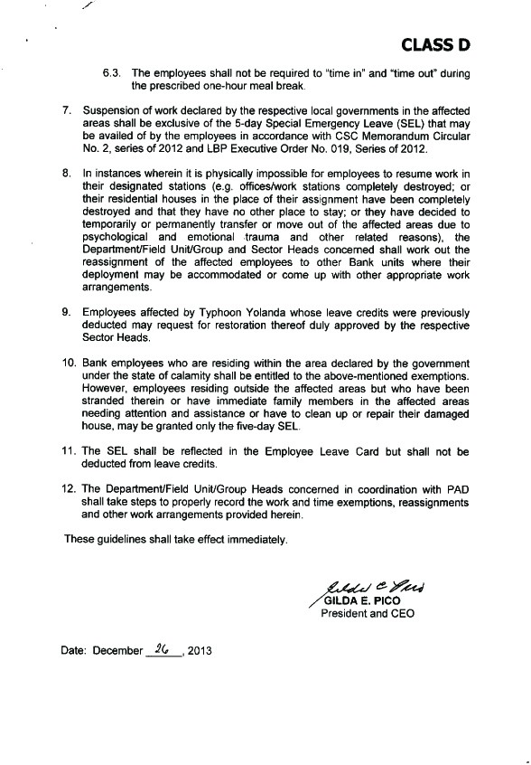GUIDELINES ON THE TIME AND ATTENDANCE OF EMPLOYEES AFFECTED BY YOLANDA Attend11