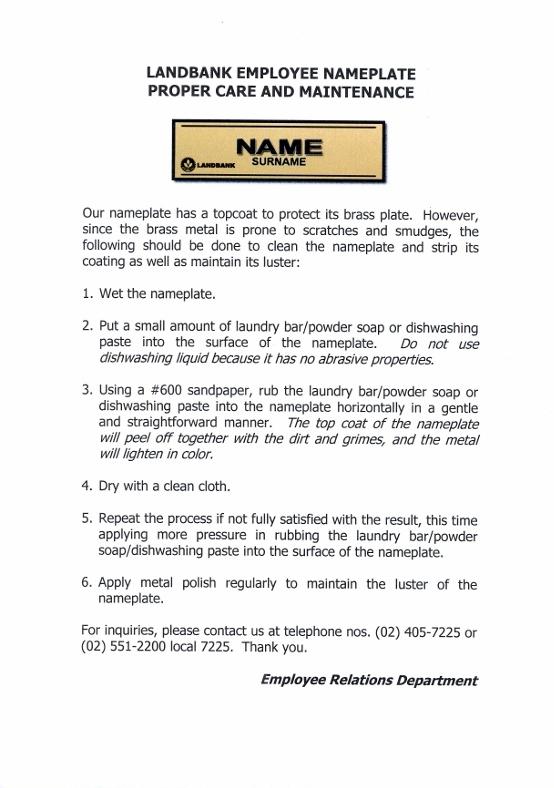 LANDBANK EMPLOYEE NAMEPLATE PROPER CARE AND MAINTENANCE Namepl10