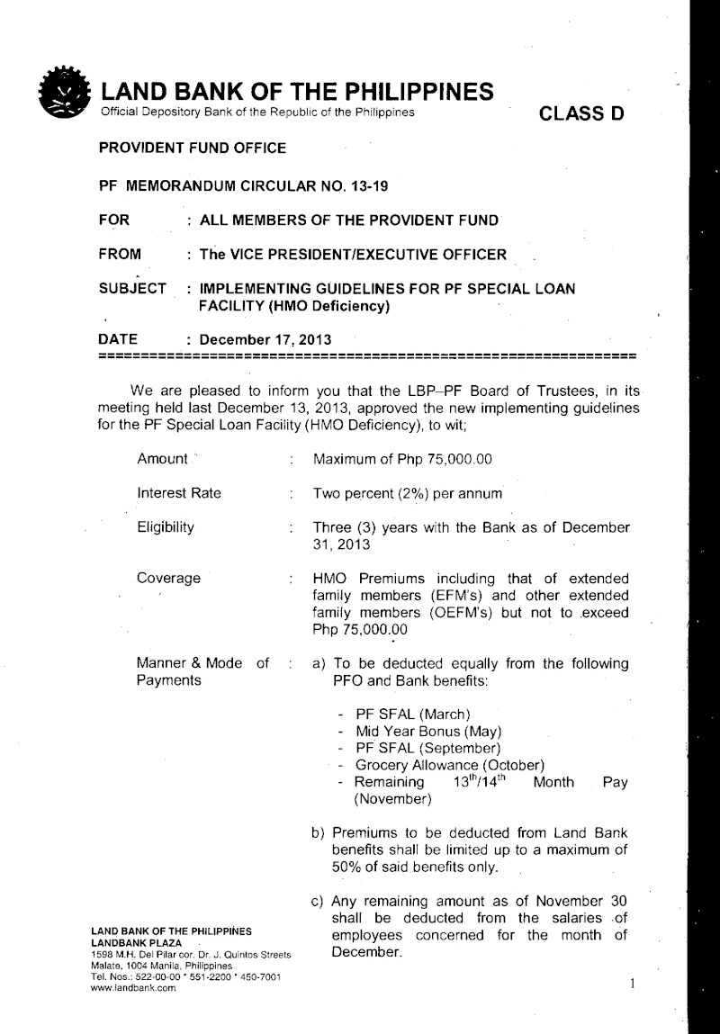 IMPLEMENTING GUIDELINES FOR PF SPECIAL LOAN FACILITY(HMO Deficiency) Sfl_hm10