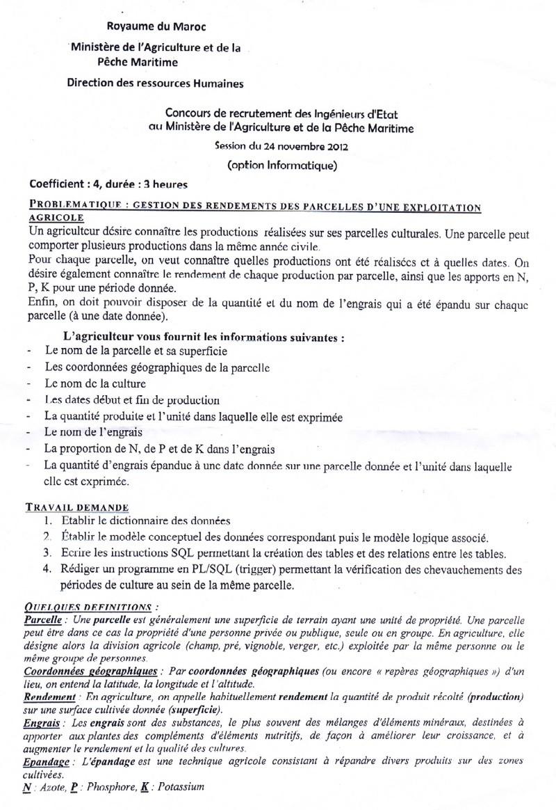 وزارة الفلاحة و الصيد البحري: نموذج مباراة لتوظيف مهندسي الدولة تخصص إعلاميات، دورة 24 نونبر 2012 5410