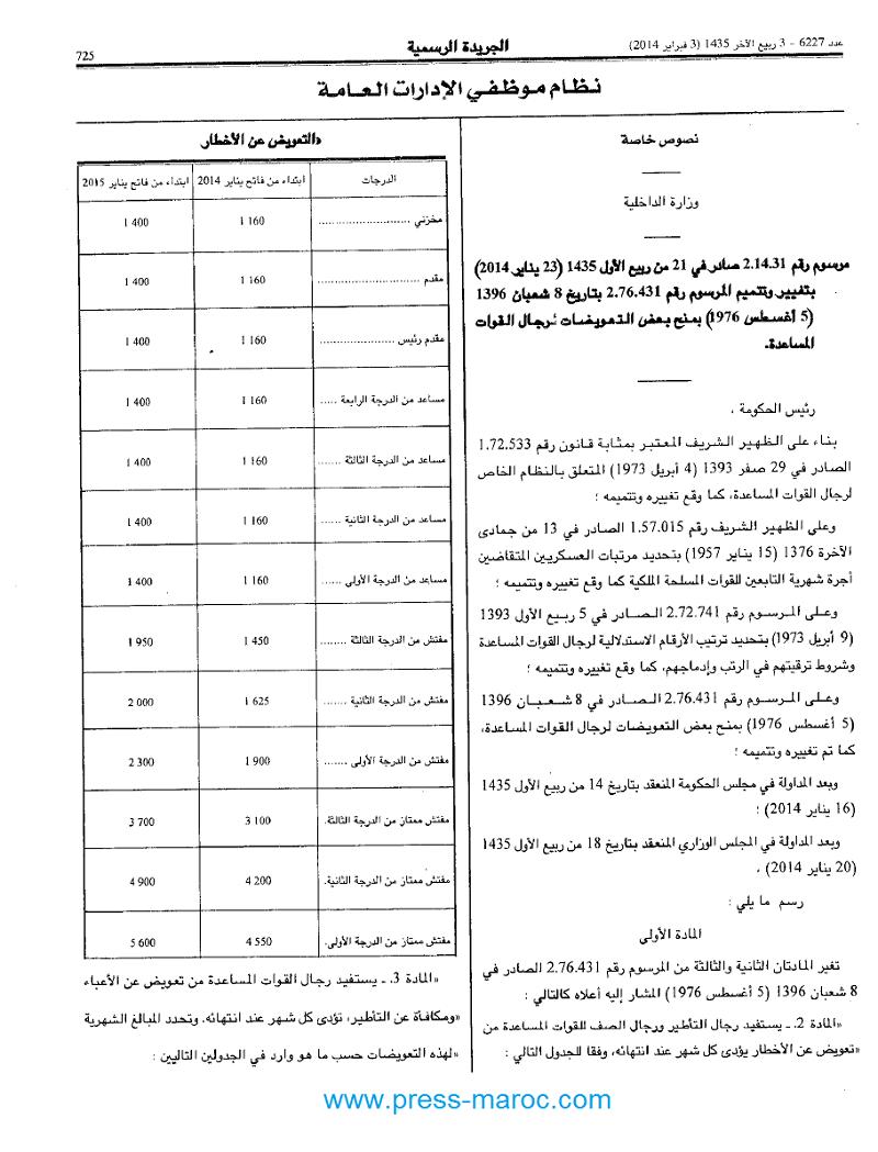 مرسوم رقم 2.14.31 الصادر في 23 يناير 2014 بمنح بعض التعويضات لرجال القوات المساعدة A10