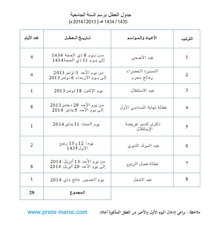 جدول العطل الجامعية برسم السنة الدراسية 2013/2014 Calendrier scolaire  Cldrf10