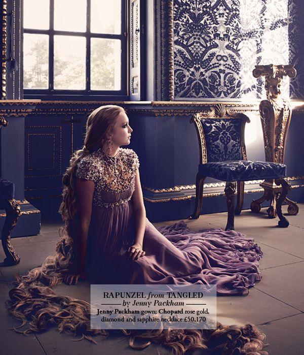 Les princesses Disney en haute couture pour le Harrods Magazine. Raipon10