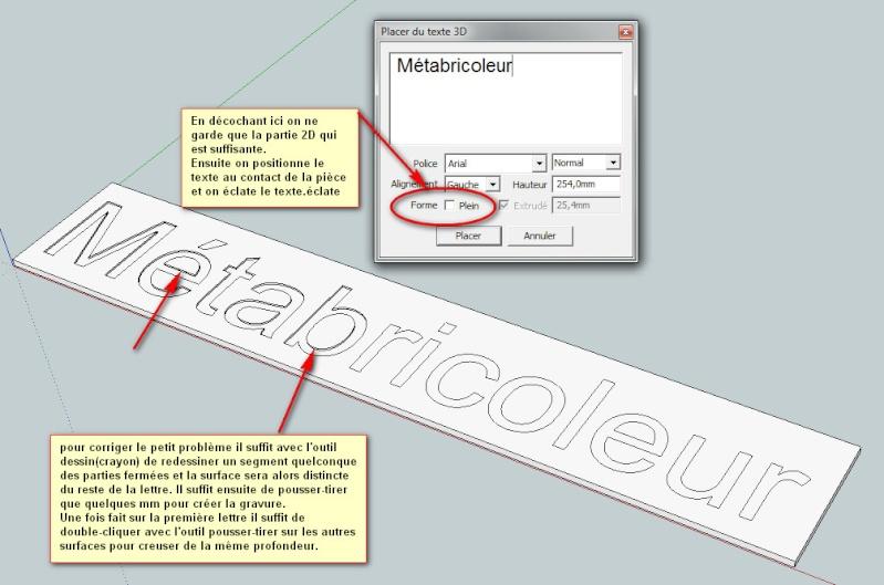 """Ecriture en """"3D"""" avec Sketchup Pro Enseig10"""