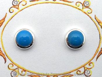 B.O. en argent avec pierre ronde opaque cabochon en serti clos  Boac0611