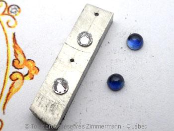 B.O. Palladium, saphir cabochon 3 mm et diamant de 8/100 ct Bopabc16