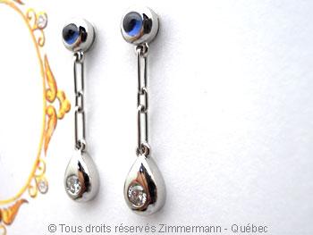B.O. Palladium, saphir cabochon 3 mm et diamant de 8/100 ct Bopabc26