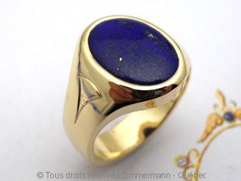 Chevalière or avec lapis-lazuli, à partir d'un lingot d'or de 102 grammes Cvoc0215
