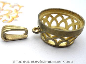 Pendentif or avec une morganite de 12,40 carats ( 14,9 mm de diamètre ) Peof1315