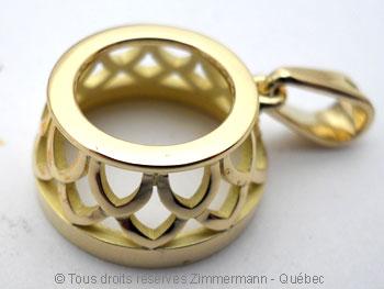 Pendentif or avec une morganite de 12,40 carats ( 14,9 mm de diamètre ) Peof1316
