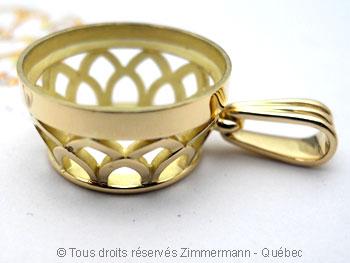 Pendentif or avec une morganite de 12,40 carats ( 14,9 mm de diamètre ) Peof1317