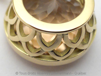 Pendentif or avec une morganite de 12,40 carats ( 14,9 mm de diamètre ) Peof1321