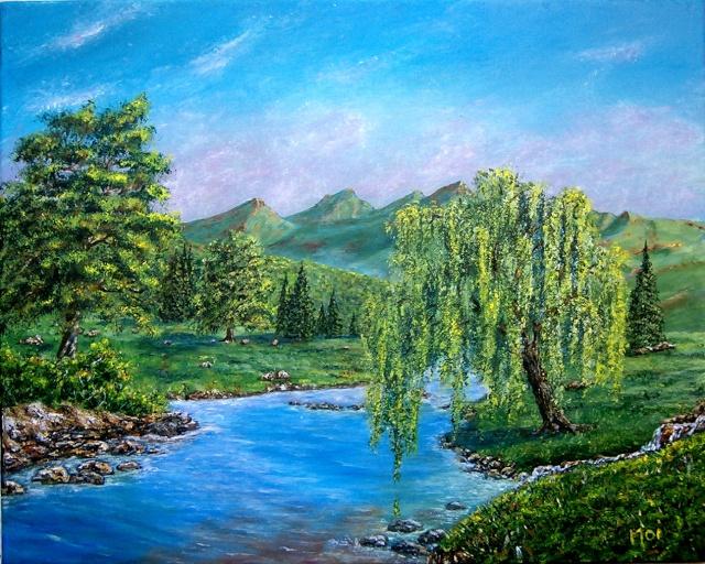 le saule pleureur dans la verte campagne et les vertes montagnes.... 101b3110