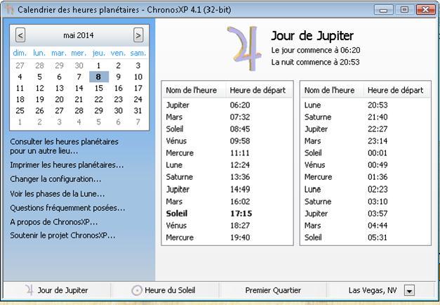 Calendrier logiciel des heures magiques planétaires Cronos10