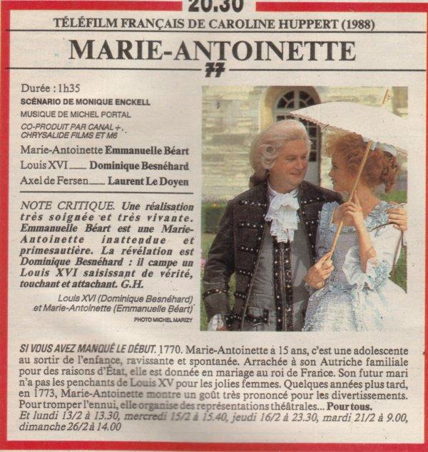 Marie Antoinette, reine d'un seul amour de Caroline Huppert, avec Emmanuelle Béart - Page 2 0210