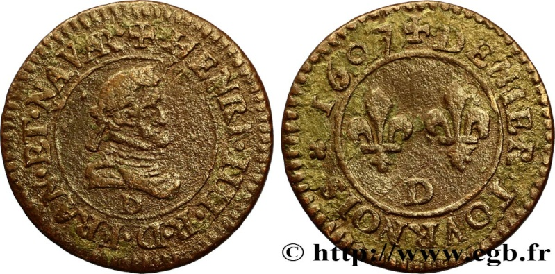 CGKL#206.B - Denier-Tournois Henri IV - 1607 Henri_20