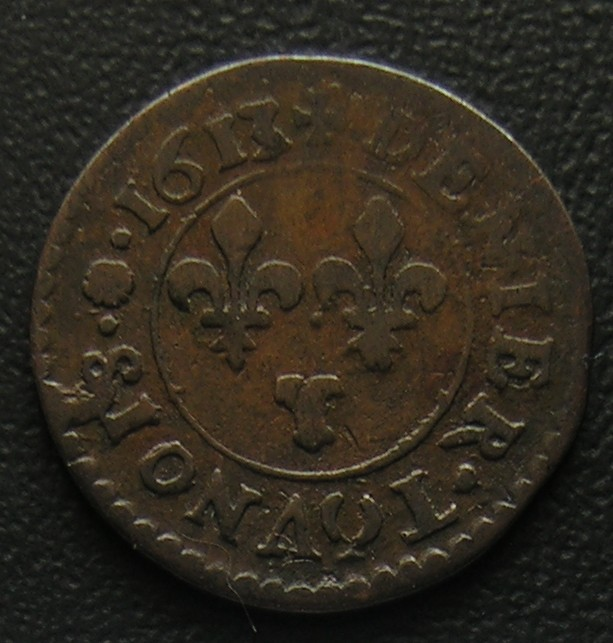 LOUIS XIII - Denier tournois 1613T Nantes Louis_11