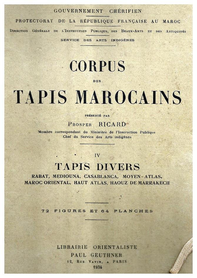 Prosper RICARD : CORPUS DES TAPIS MAROCAINS Tome IV, Tapis divers. Jjscan84