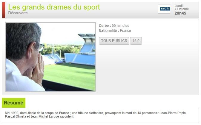 Lundi 07/10/2013 : Les grands drames du sport S13