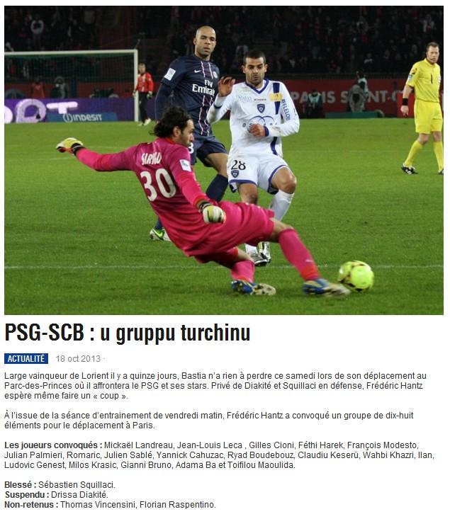 J10 / Jeu des pronos - Prono PSG-Bastia S18