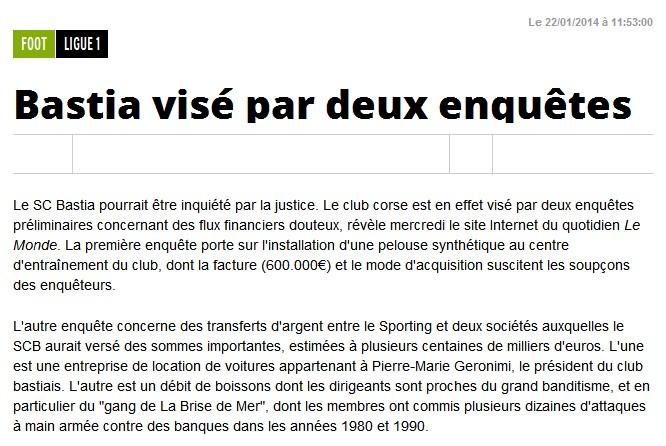 Justice : Le SC-Bastia visé par 2 enquêtes S185
